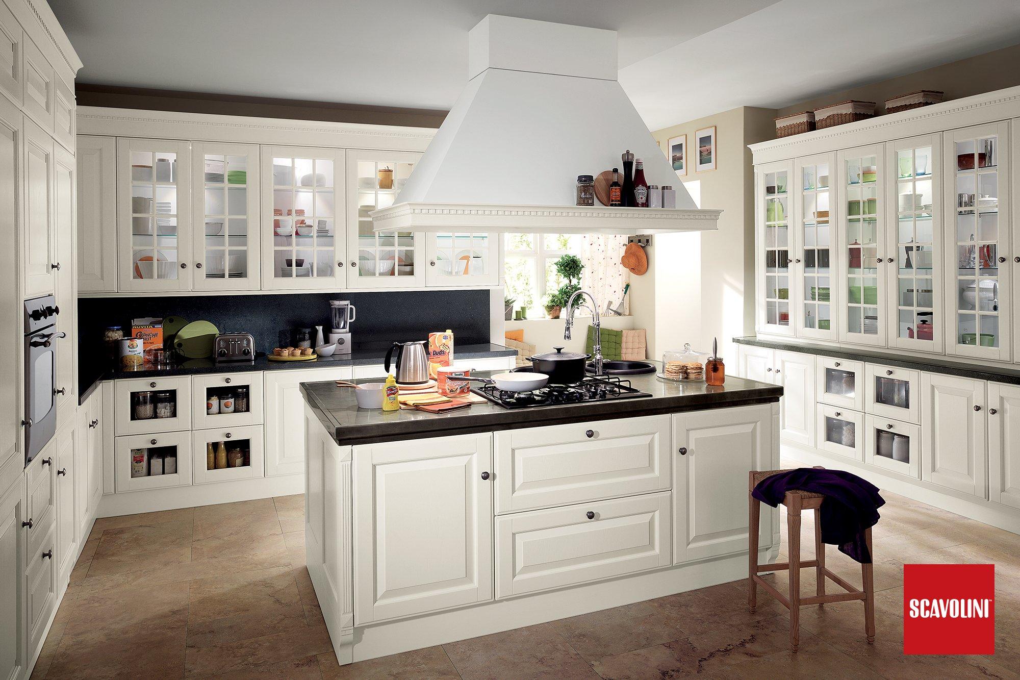 Cucina Scavolini mod. Baltimora anta legno rovere bianco assoluto