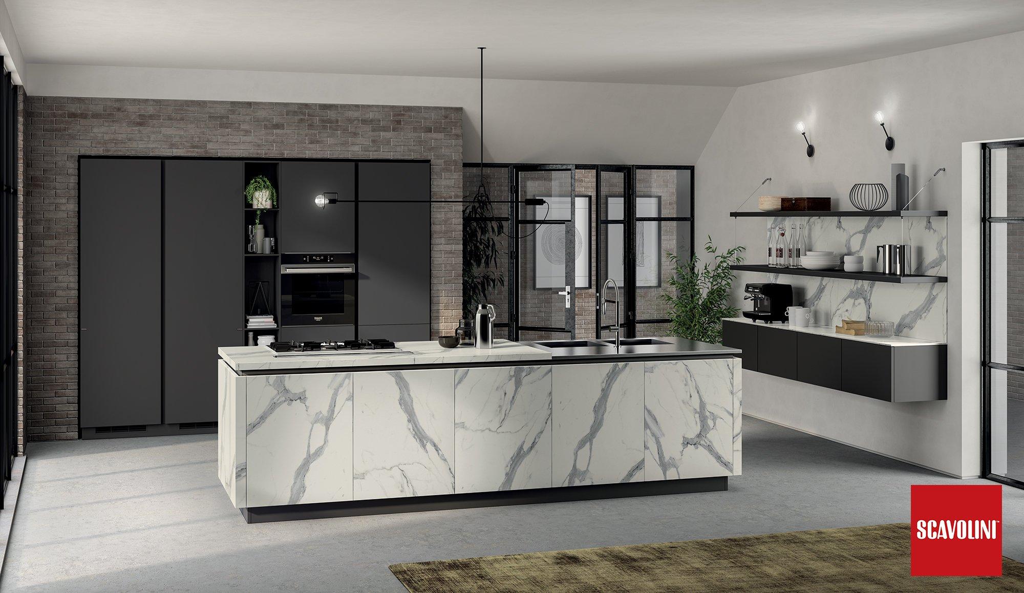 Cucina Scavolini mod. Liberamente anta decorativo statuario/grigio graffite